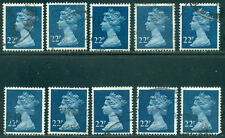 GREAT BRITAIN SG-X962, SCOTT # MH-117 MACHIN USED, 10 STAMPS, GREAT PRICE!