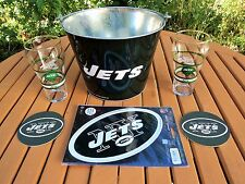 NY JETS LOT: JETS ICE BUCKET PAIL, GLASSES BY COCA-COLA, WINCRAFT MAGNET COASTER
