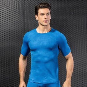 Mens Sports Compression Top Tight T-Shirt Quick Drying Yoga Fitness Running Gym