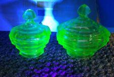 Uranium Glass Trinket Dishes Bowls Vintage Mid Century Vaseline Glass