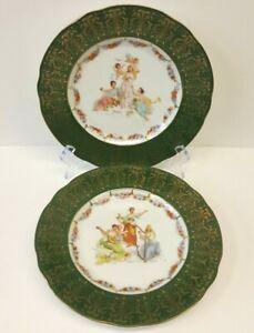 "Pair, Victoria Carlsbad Austria 8.75"" Plates Maidens & Cherubs / Musicians"