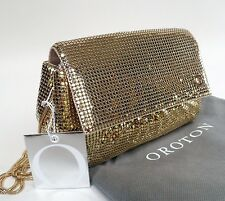 NEW OROTON Opera Gather Purse Mini Handbag Bag Clutch Glow Mesh Gold RRP$395