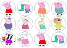 12 Peppa Pig and Friends Edible Wafer Paper Cupcake Toppers