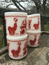 Set of Four 1940's Milk Glass CIRCUS PERFORMERS Hazel Atlas Coffee CLOWN MUGS