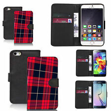 pu leather wallet case for lots of Mobile phones - red tartan
