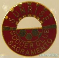 VINTAGE Soccer Ball Sports SUNRISE SOCCER CLUB SAC CA 80s Hat Pin Badge Pinback