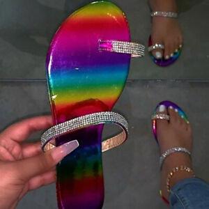 Women Rhinestone Flat Slippers Slides Bling Bling Sandals Open Toe Summer Comfy