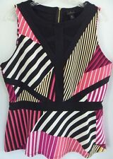 Worthington Womens Knit Top XL Black Striped Sleeveless Zippered Blouse