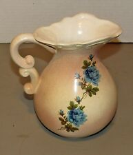 Cream Colored Blue Flower Stoneware Water Pitcher 8 inches Tall