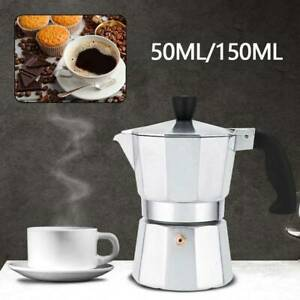 50/150ML Italian Espresso Maker Italian Stove Top Coffee Percolator Moka Pot UK