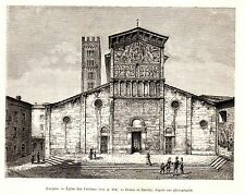 Antique print Basilica of San Frediano Lucca stampa antica 1880 architecture