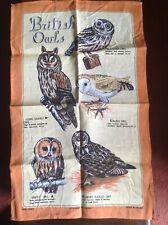 Vintage TEA TOWEL 'British Owls' by ULSTER WEAVERS. 100% Linen. Unused.