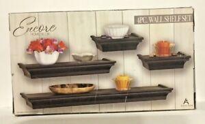 4 pc. Wall Shelf Set (Black) - Encore Floating Shelves by, Always Home