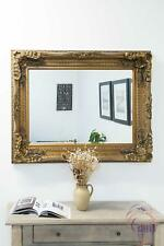 Large Antique Style Gold Wall Mounted Rectangle Wood Mirror 4ft X 3ft 122x92cm