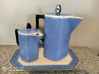 3 Pc Art Deco Style Vintage Luster ware Blue Coffee Pot Set w/ Tray, Germany