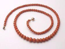 Superbe ancien collier de perle de corail rouge fermoir or 18k XIXeme