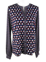 Jones New York Womens Size L Blouse V-Neck Button Down Long Sleeve Stretch