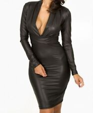 Women's Sleeveless Faux Leather Clubwear Stretch, Bodycon Dresses