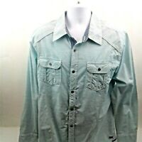 Buckle Black Mens Slim Fit Green Long Sleeve Shirt w/Flip Collar & Cuffs Size XL