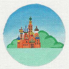 """St. Petersburg, Russia handpainted Needlepoint Canvas 4"""" Rd. by Painted Pony"""