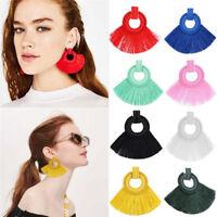 1 Pair Women's Bohemian Dangle Long Tassel Thread Drop Ear Stud Earrings