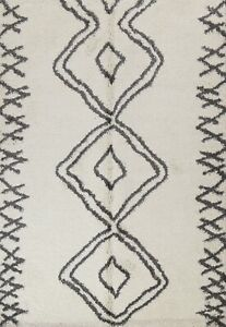 Geometric Shaggy Turkish Oriental Modern Area Rug Ivory/ Charcoal 8x10 ft Carpet