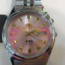ORIENT JAPAN MEN'S WATCH AUTOMATIC 21JEWELS ALL S/S PINK ORIGINAL FEM6Q00EM9 NEW