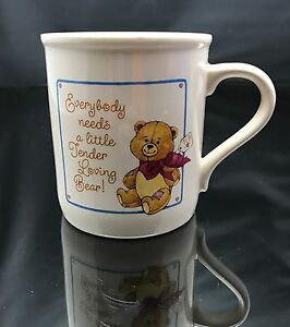 "Cup 3 1/2"" Hallmark Ceramic Everybody Needs a Little Tender Loving Bear Mug Euc"