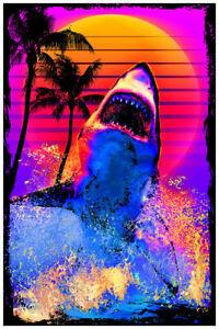 SHARK BREACH - BLACKLIGHT POSTER - 24X36 - GREAT WHITE 452