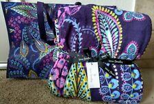 "Vera Bradley Batik Leaves Throw Blanket Fleece 80""x50 ""w/Market Tote Purple Nwt"