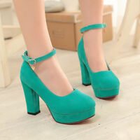 Womens Mary Jane Round Toe Ladies Chunky Block High Heels Pumps Shoes Size 4-11