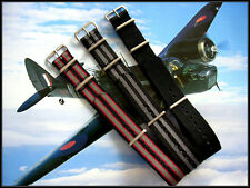 20mm Black Grey stripe NATO G10 nylon watchband strap 3 pak RAF Bonded IW SUISSE