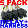 5 PACK 30/40 AMP RELAY HARNESS SPDT 12V BOSCH STYLE S SHIPS FREE FAST FROM USA!