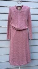 VIVANTI Vintage Mauve Knit Lace Skirt Set Sz M