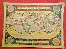 Antique world map reproduction, TYPUS ORBIS TERRARVM, 18X13 inches - unframed