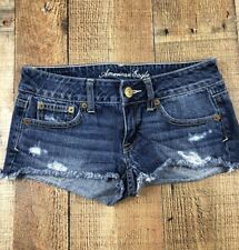 American Eagle Distressed Booty Cut Women's Jean Shorts, Size 0 (27x1)