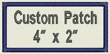 "Custom Rectangle Name Patch, Tag, Label 4"" x 2"" - Iron On / Sew On - Fast Ship"