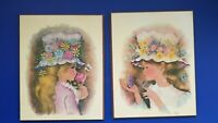 A.Guero Vintage Lot Of 2 Paintings Girls Bonnets 1970s Mid Century Modern signed