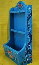 Vtg Rosemaling Wooden Collector Souvenir Spoon Rack Display Case Hand Painted