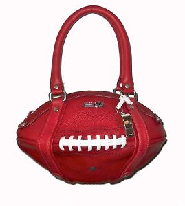 NEW Red24 Maroon Leather FOOTBALL PURSE Hand Bag+Whistle Redskins Cardinals NFL