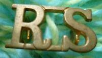 RS Title Royal Scots Shoulder Title BRASS 2 Lugs ANTIQUE Original