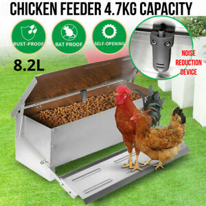 8.2L Automatic Chicken Food Feeder Treadle Feed Galvanized Self Opening Silver