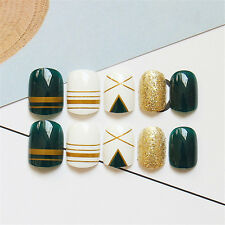 24Pcs Green Gold Shining Linellae Short Fake Nail Art Nail Tips Full False Nails
