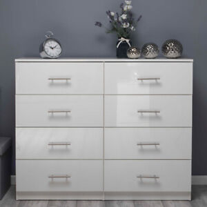 White ALL GLOSS Huge 8 Drawer Chest of Drawers. Premium Bedroom Gloss Furniture