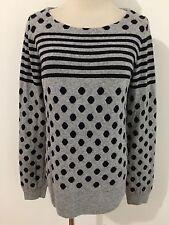 J.CREW Scoop Neck Sweater Merino Wool Blend Gray w/Black Dots & Stripes Size M