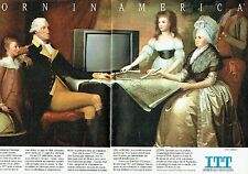Publicité Advertising 057  1985  ITT ( 2 pag téléviseur Pal Secam G.  Washington