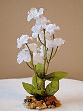 Artificial Aquarium SMALL 5 inch Bright WHITE silk FLOWER PLANT w/ STONE BASE