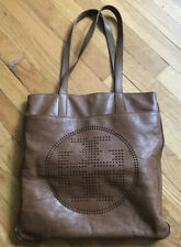 Authentic Tory Burch Perforated Leather Brown Cognac Tote Handbag