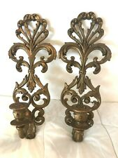"PAIR Candle Sconces Syroco Mini Tapers Dark Gold Gild Chic 6""x15"" Vtg Burwood"