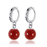 925 Sterling Silver Earrings Agate Bead Drop Dangle Women Fashion Jewelry